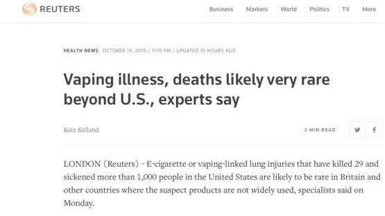 """路透社:美国电子烟致死情况特殊,因此恐慌是""""巨大耻辱"""""""