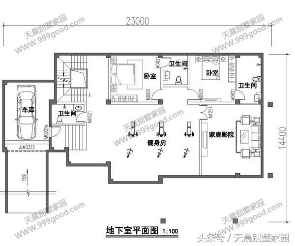 负一层别墅设计图:车库,健身房,家庭影院,二间卧室,卫生间,楼梯