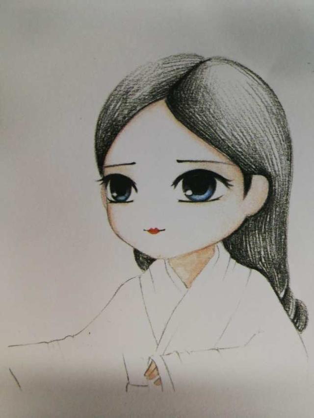 中国古装彩铅手绘步骤教程,q版汉代娃娃