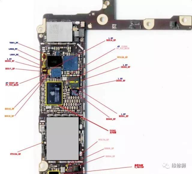 苹果6卡槽坏损坏 飞线维修;6p nfc 电路测试点图