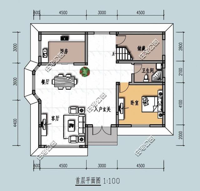 新农村别墅12米x11米,平面图布局超好,效果图难看这套