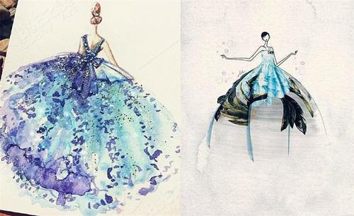 """""""水彩""""婚纱手绘图,看到""""黑夜精灵""""时,网友:是想穿的感觉!"""