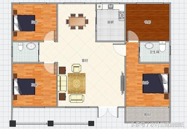 总设计有4室2厅1厨2卫.