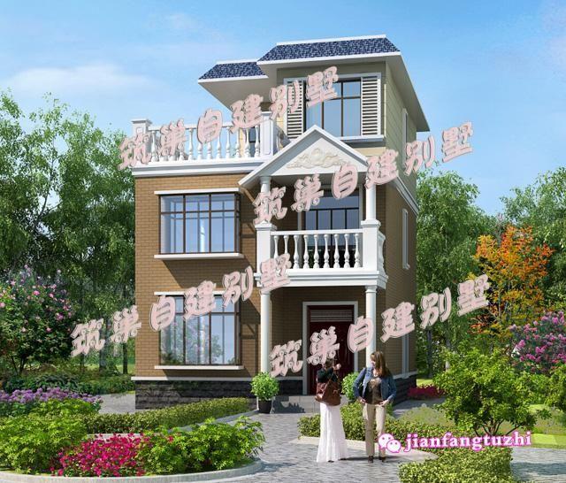 80平米农村三层自建房设计效果图cad图纸齐全小户型别墅施工图图片