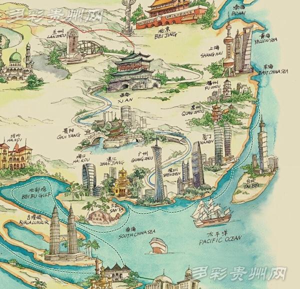 """贵州""""文创人""""用画笔创作世界首幅""""一带一路""""全手绘地图"""