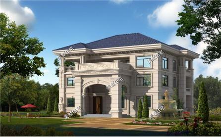 方方正正的欧式别墅,门厅的罗马柱设霸气十足,一看就是富贵人家!