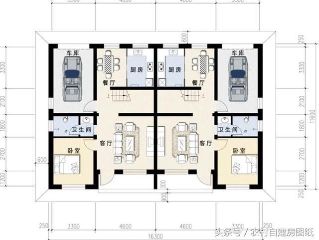 2款带庭院的双拼农村自建房,80平仅15万,兄弟合建美出