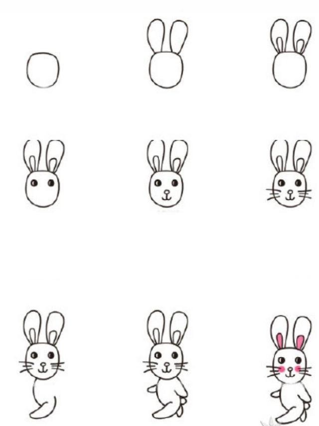 今天我们就来学习画小白兔的简笔画,画法特别简单,只要几笔,爸爸妈妈