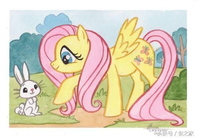 淡粉色色鬃毛,蓝绿色眼睛的小马,长相漂亮,可爱标志为三只粉红翅膀的
