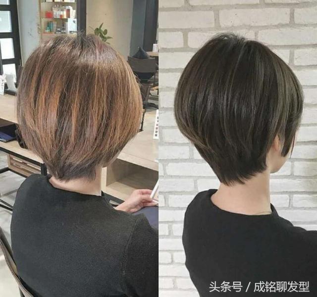推荐一组短发发型剪发前后的对比,是不是曲线感更强,后脑和脖子更完美