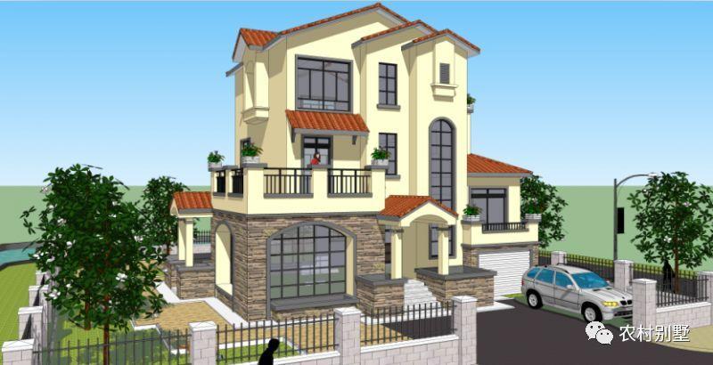 新别墅实用三层带地下室农村,全都别墅车库有,40万以内建好露台大围山图片