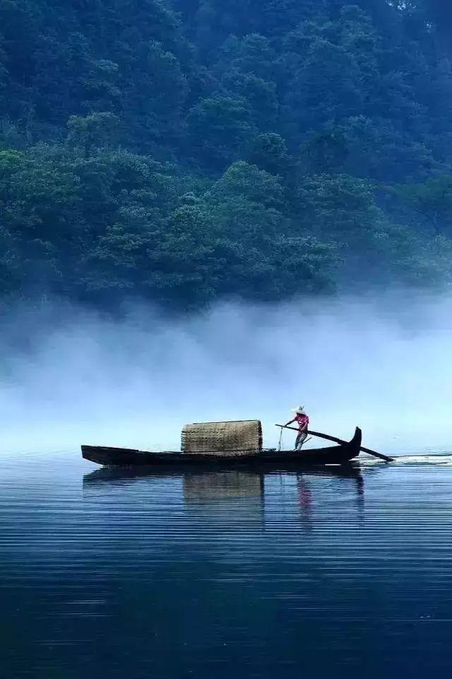 清晨这里云蒸雾腾的时候,船家已经身穿蓑衣,带上斗笠,划上一叶小舟在