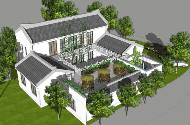 中式四合院设计案例 仿古中式 双坡屋顶 局部两层
