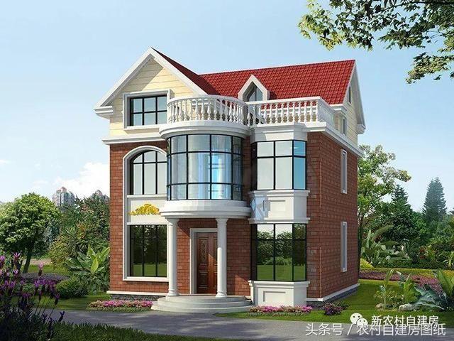 小山顶面积在别墅使用中是最受建房的,很多农村地区宅基地的欢迎农村户型中岛别墅西图片