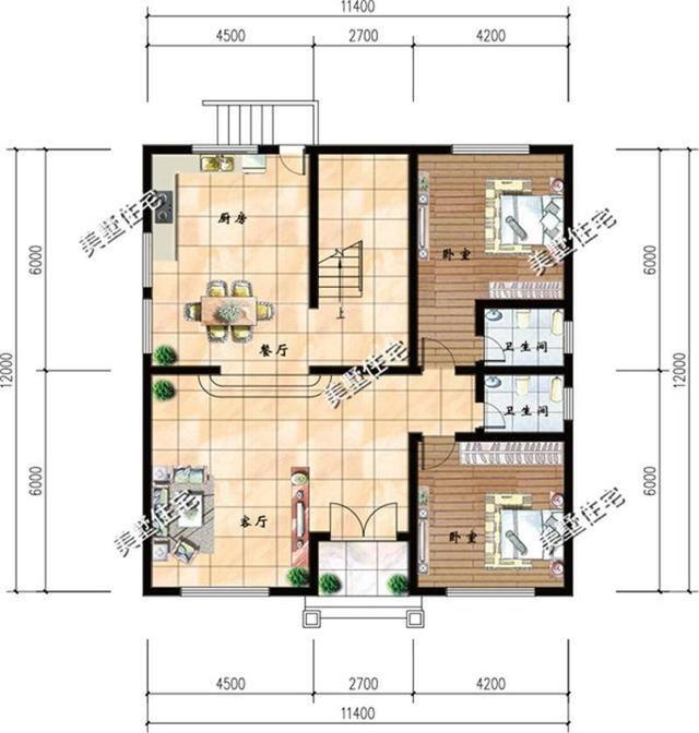 11.54x12米二层农村别墅,5室3厅带俩露台,只要25万?图片