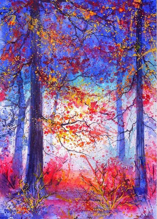 她水彩风景作品里的春夏秋冬,实在太美了!