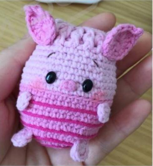 钩织立夏卡通蛋袋图解教程--小猪皮杰