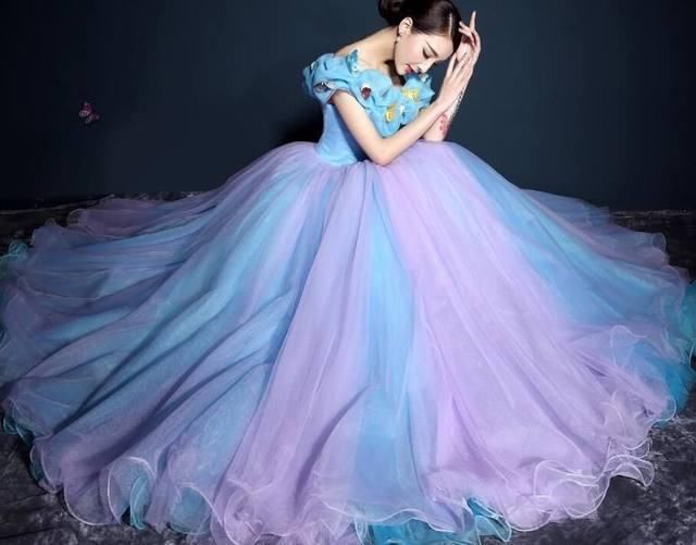 女生座常有不一样的是非,这款感觉,性格与紫色相互过度,也水瓶喜欢仙偏白羊座的金牛婚纱蓝色图片