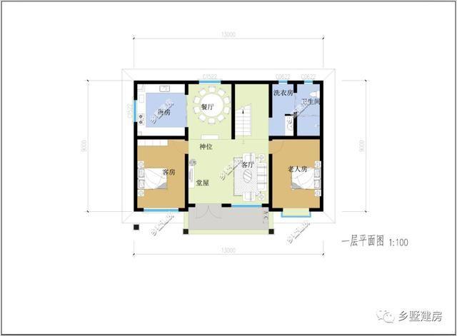 一层设有神位,客厅,堂屋,厨房,餐厅和卫生间,洗衣房,以及三间卧室图片