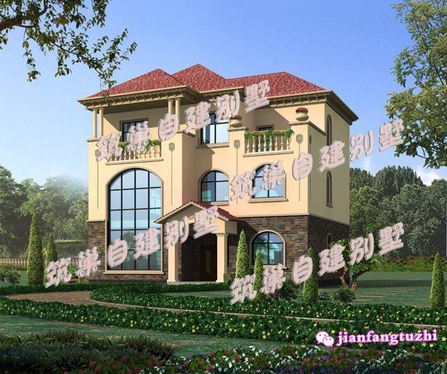 40万135平方米13x11米三层欧式田园乡村别墅设计效果图纸