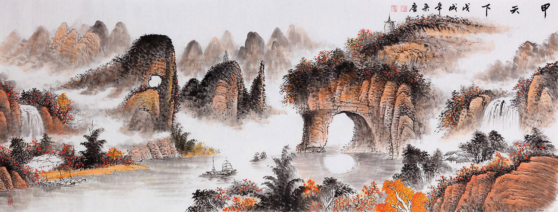 沙发墙国画挂什么好手绘国画山水美景更秀丽