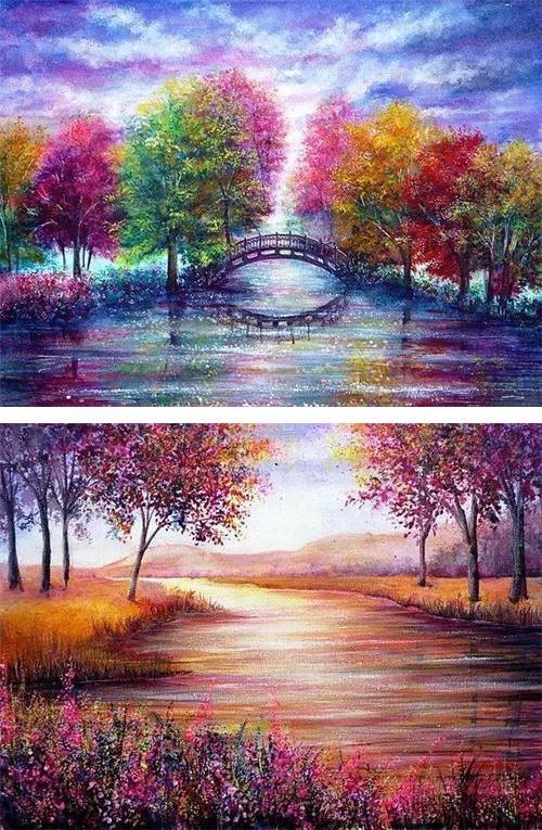 [文萃画材·丙烯]美爆了的丙烯颜料风景画,不看看吗