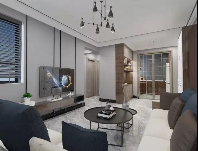 客厅吊顶用黑钢线条装饰,客厅给人简约宽敞的氛围,整个客厅充满浓郁图片