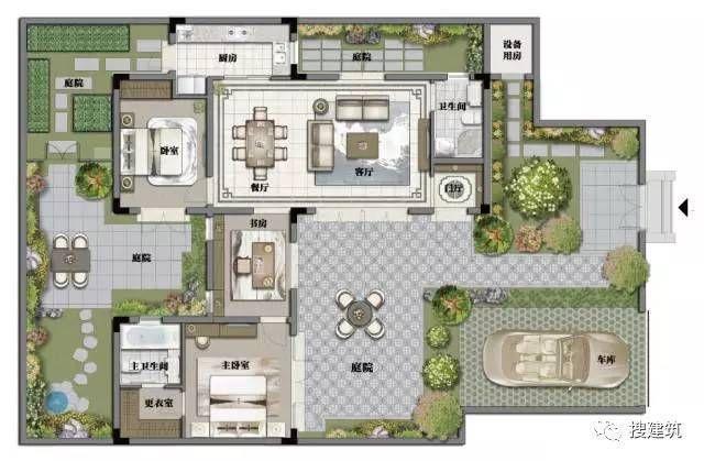 """纯中式96-199小别墅,一宅多院,开创了""""院外合院""""图片"""