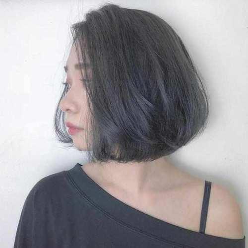 脸胖脸大适合剪的短发九:长刘海旁分鲍伯加上完美c字弯,修饰头型自然