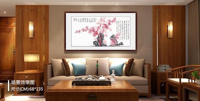 中式沙发背景墙挂什么装饰画?书法艺术让中式氛围更突出!