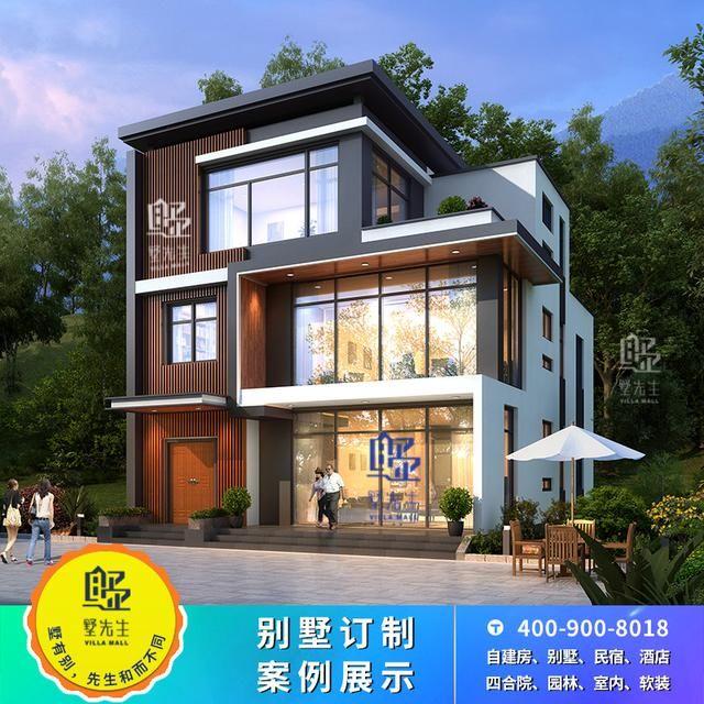 现代新农村小户型别墅设计图纸乡村三层自建房子私人