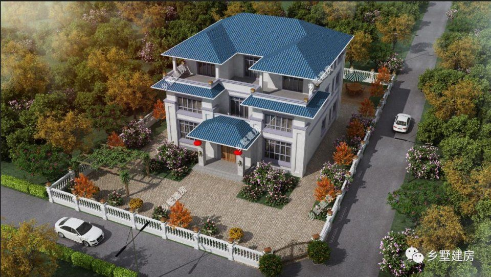 一层平面设计图:一楼设有五间卧室,一间茶室,再是客厅,厨房餐厅.