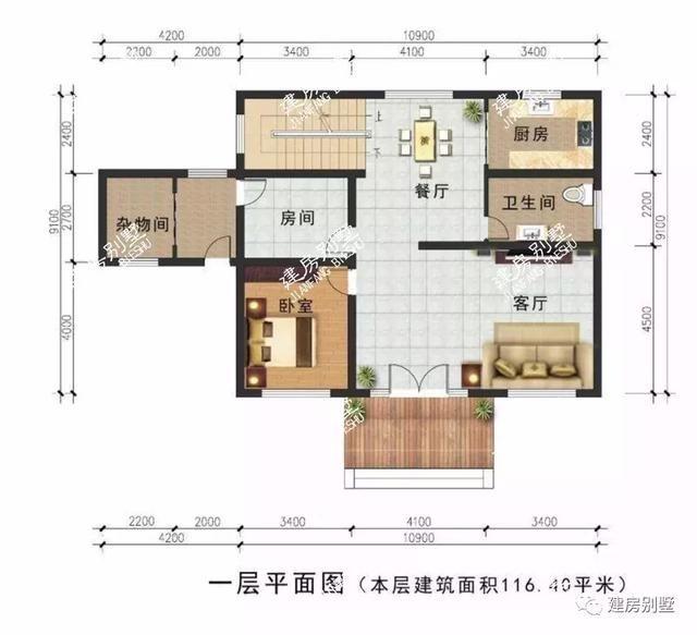 二层平面图:两室一厅两卫一书房一露台.