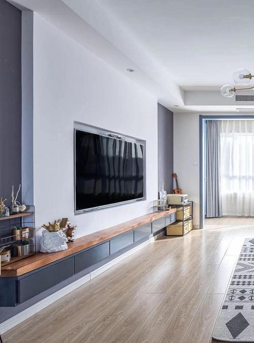现代北欧风三居室,喜欢这样的电视背景墙图片