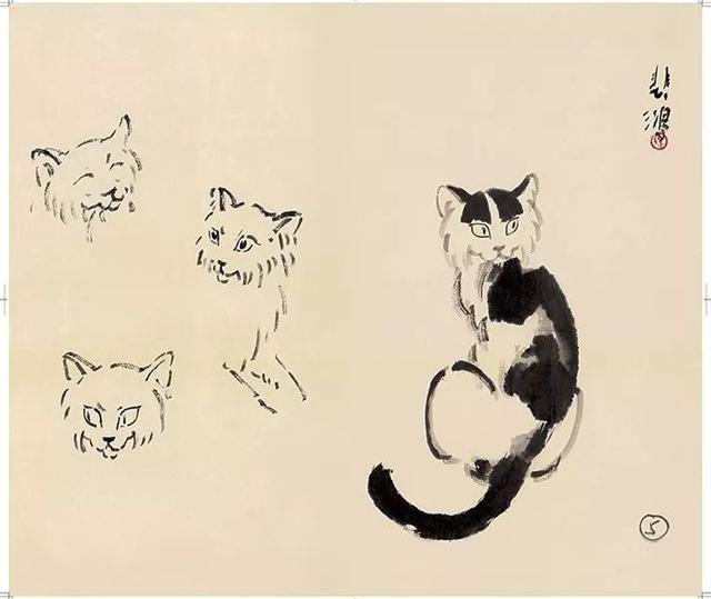 向徐悲鸿学画的点这里--徐悲鸿画马画牛画猫珍贵步骤图