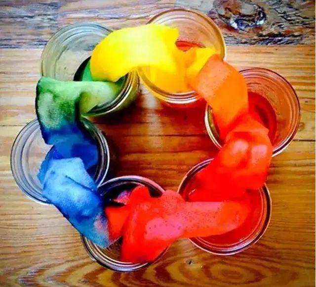 制作步骤:将不同的颜料倒入水中,将玫瑰花插在不同的瓶子里, 静待