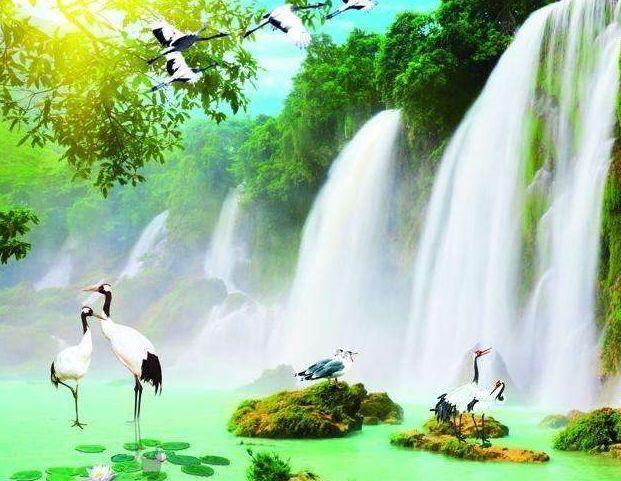 壁纸 风景 国画 旅游 瀑布 山水 桌面 621_481