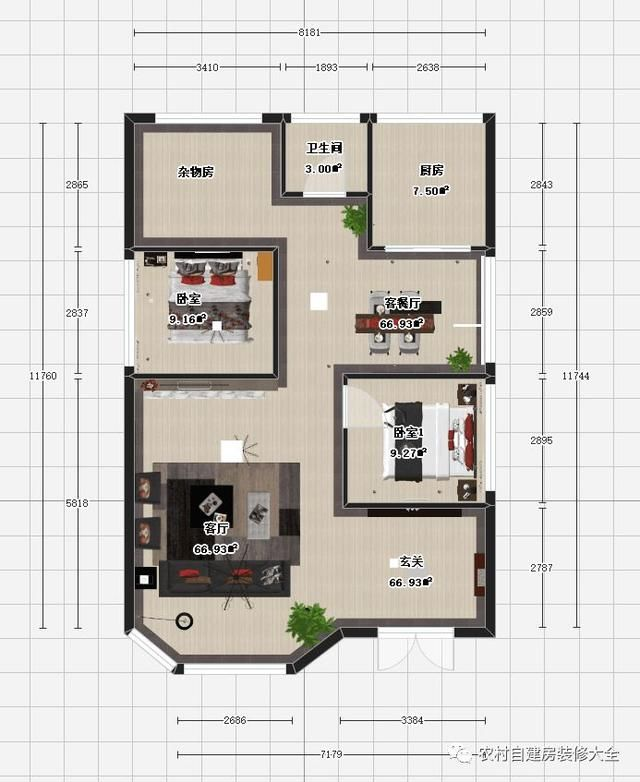 8.1x11.7米农村自建房别墅设计带室内装修