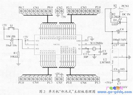 稳压滤波后变成5v,给主控板51单片机ic芯片供电,并从主板cn2和cn5接线