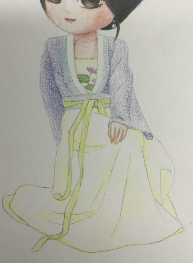 明代袄裙彩铅手绘q版娃娃 简单步骤教程