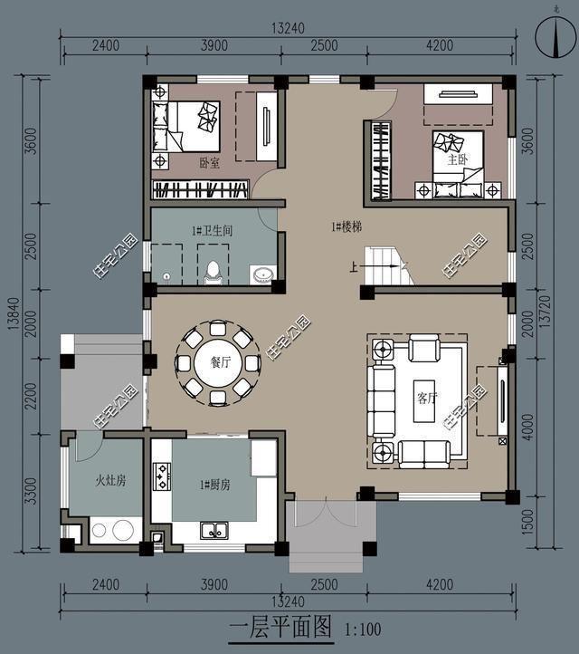 13x13米农村别墅,柴火灶现代双厨房设计,理想农村生活图片