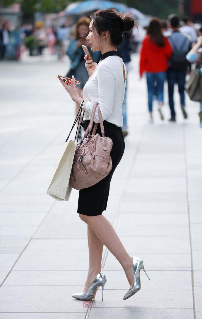 街拍 穿职业装的女性,很有魅力,特别是包臀裙好看