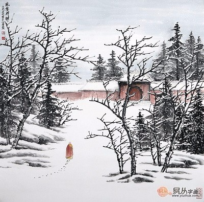 吴大恺最新力作雪景山水画斗方《听雪释禅》 书房在现代家居生活中图片