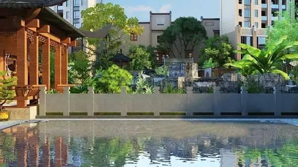 运用景墙,水系,植物,小品等景观元素,深度融合小区环境,全面创新中式