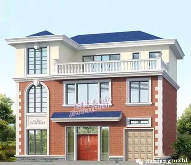 精美三层带车库农村自建别墅设计图,窗户设计独特漂亮