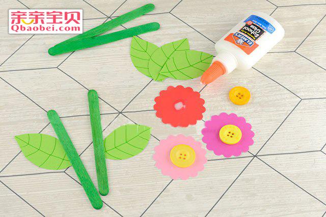 儿童纽扣小纸花制作过程