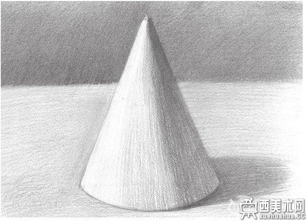 石膏圆锥体,由侧部的扇形和底部的形组成.
