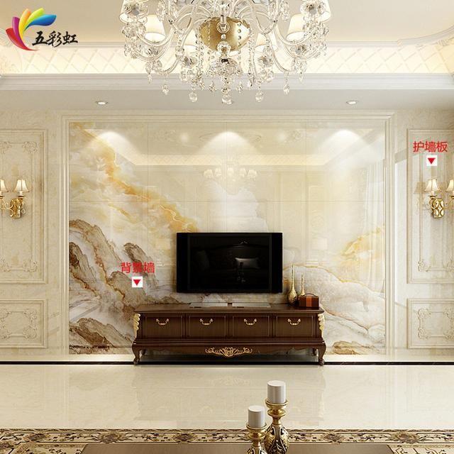 5,微晶石背景墙搭配石材护墙板边框造型装修效果图