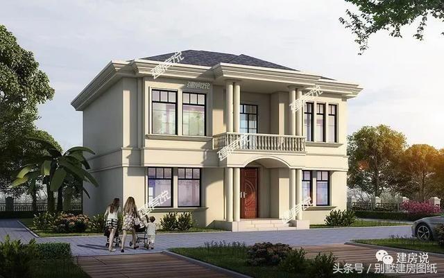 別墅外觀造型優美,老虎窗加強通風排氣,八角落地窗美化外觀,也給室內