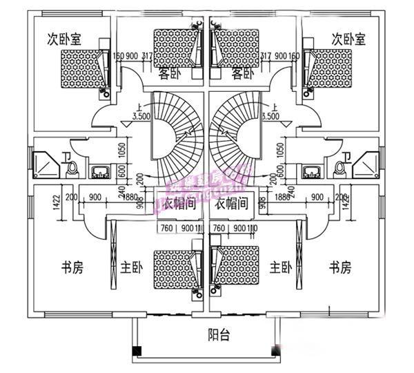 30万14x12米电源纸板别墅双拼设计图,单户904273842738xitv二层图农村图片